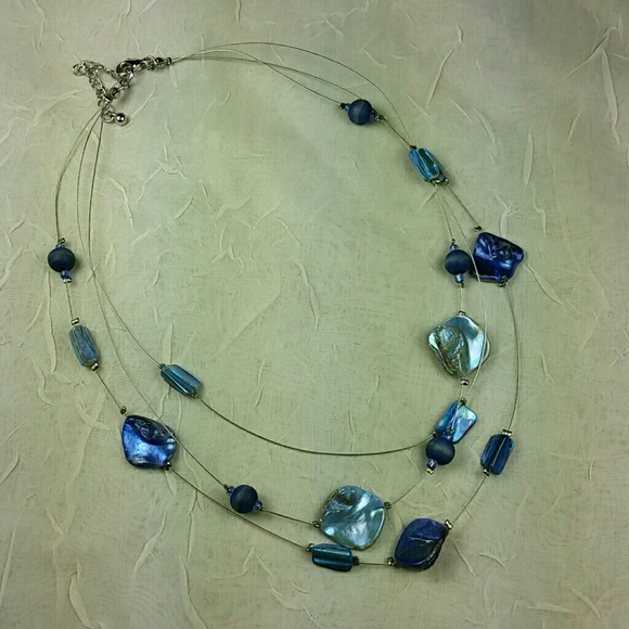 160f2045c Jewelry | 16 Blue Mother Of Pearl 3 Strand Necklace | Poshmark